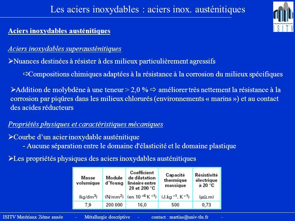 ISITV Matériaux 2ième année - Métallurgie descriptive - contact : martias@univ-tln.fr - Les aciers inoxydables : aciers inox. austénitiques Aciers ino