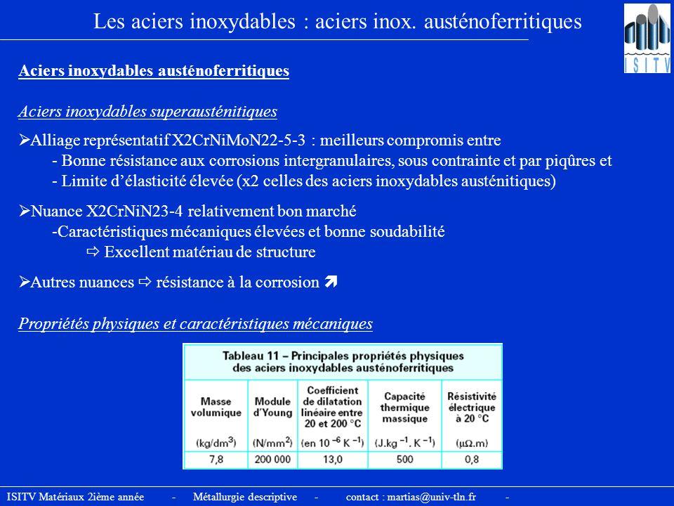 ISITV Matériaux 2ième année - Métallurgie descriptive - contact : martias@univ-tln.fr - Les aciers inoxydables : aciers inox. austénoferritiques Acier