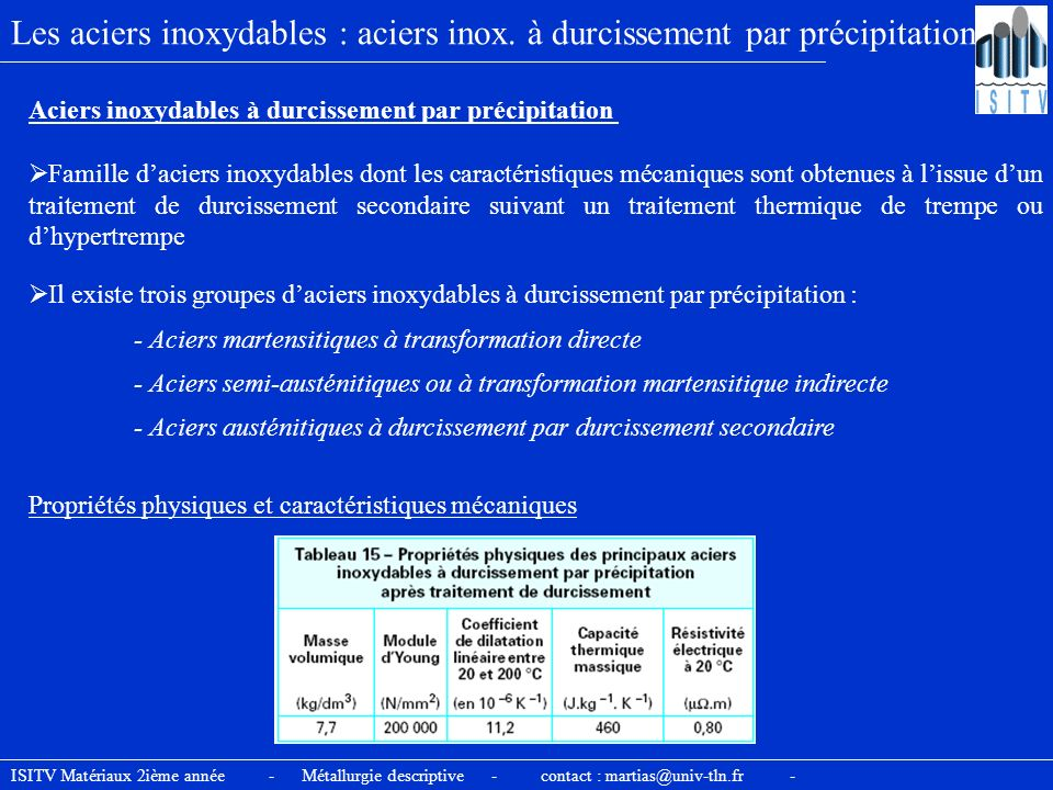 ISITV Matériaux 2ième année - Métallurgie descriptive - contact : martias@univ-tln.fr - Les aciers inoxydables : aciers inox. à durcissement par préci
