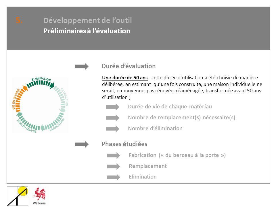 5. Développement de loutil Préliminaires à lévaluation Durée dévaluation Une durée de 50 ans : cette durée dutilisation a été choisie de manière délib