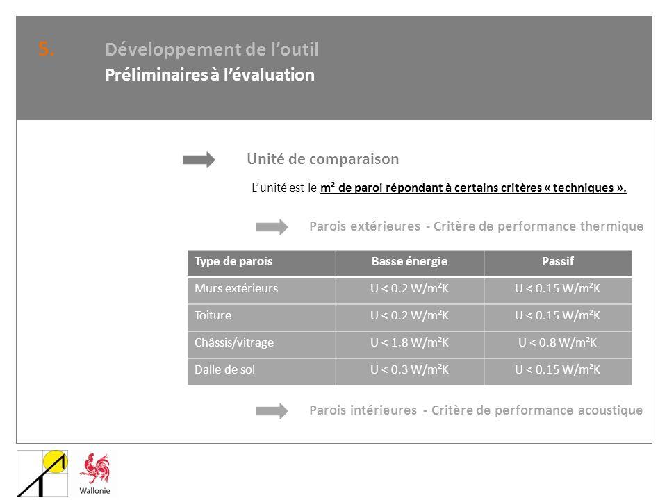 5. Développement de loutil Préliminaires à lévaluation Unité de comparaison Lunité est le m² de paroi répondant à certains critères « techniques ». Pa