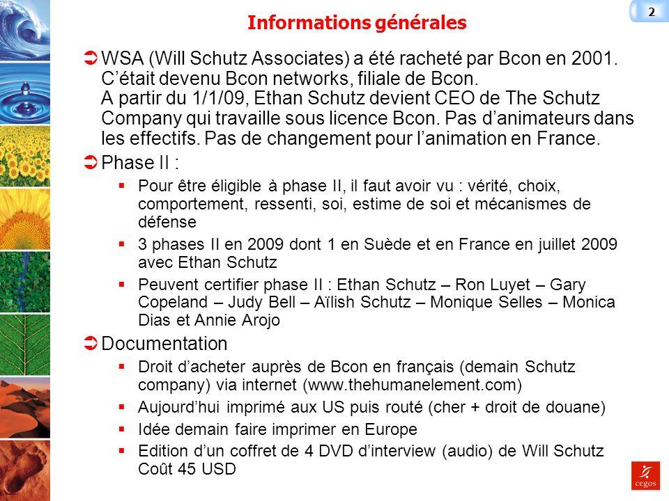 2 Informations générales WSA (Will Schutz Associates) a été racheté par Bcon en 2001.