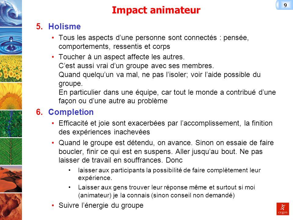 9 Impact animateur 5.Holisme Tous les aspects dune personne sont connectés : pensée, comportements, ressentis et corps Toucher à un aspect affecte les autres.