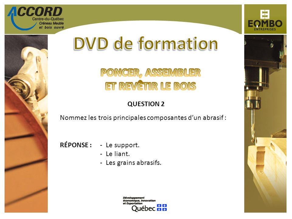 QUESTION 2 Nommez les trois principales composantes dun abrasif : RÉPONSE :-Le support. -Le liant. -Les grains abrasifs.