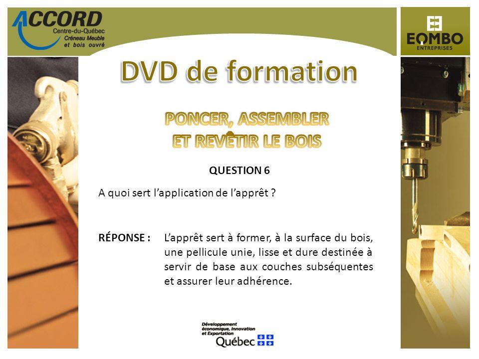 QUESTION 6 A quoi sert lapplication de lapprêt ? RÉPONSE :Lapprêt sert à former, à la surface du bois, une pellicule unie, lisse et dure destinée à se
