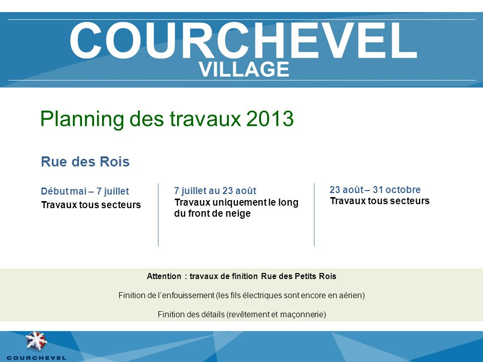 Planning des travaux 2013 Rue des Rois Début mai – 7 juillet Travaux tous secteurs Attention : travaux de finition Rue des Petits Rois Finition de len