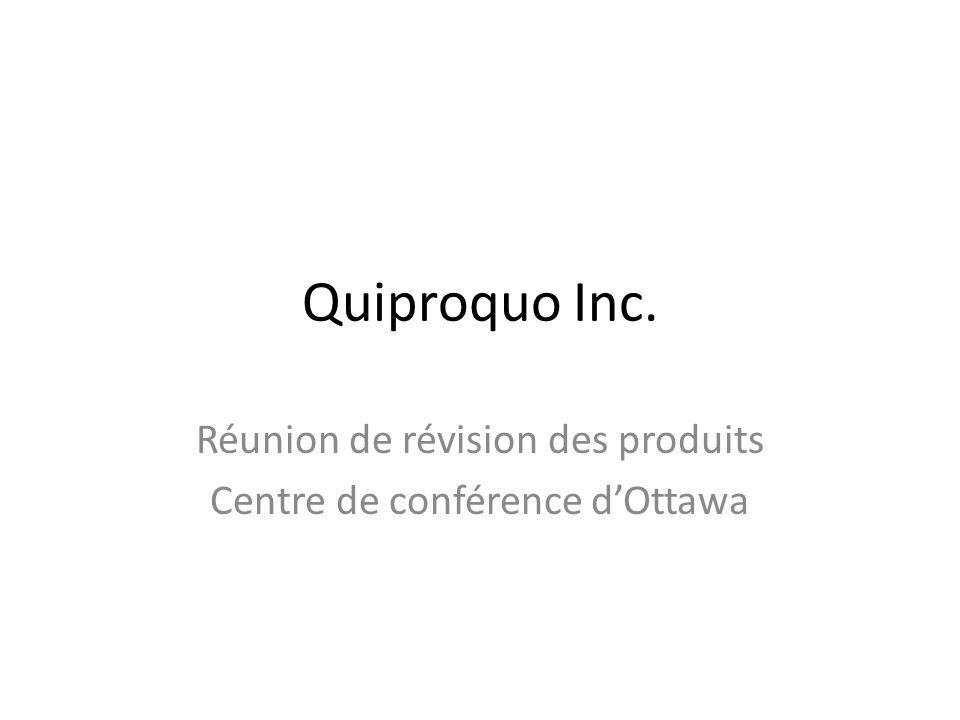 Quiproquo Inc. Réunion de révision des produits Centre de conférence dOttawa