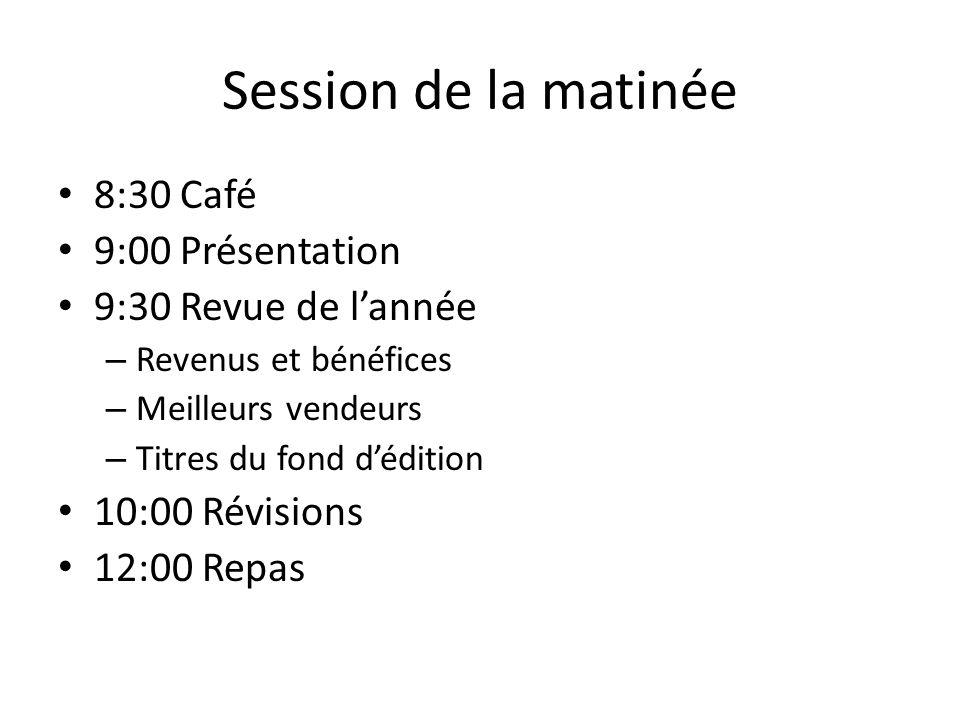Session de la matinée 8:30 Café 9:00 Présentation 9:30 Revue de lannée – Revenus et bénéfices – Meilleurs vendeurs – Titres du fond dédition 10:00 Révisions 12:00 Repas