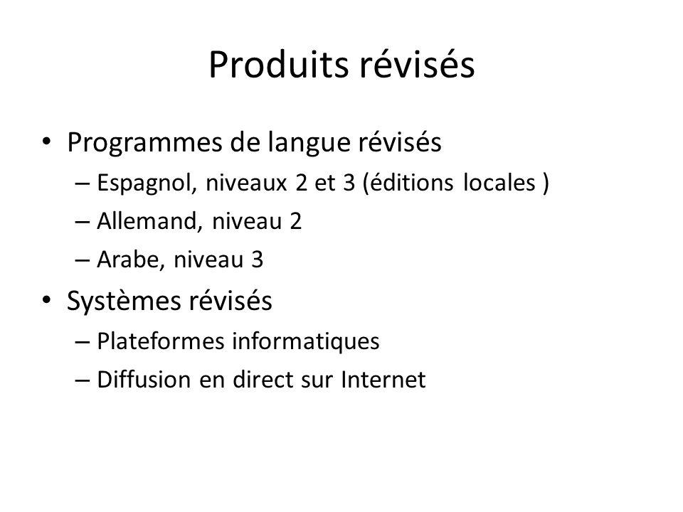 Produits révisés Programmes de langue révisés – Espagnol, niveaux 2 et 3 (éditions locales ) – Allemand, niveau 2 – Arabe, niveau 3 Systèmes révisés – Plateformes informatiques – Diffusion en direct sur Internet