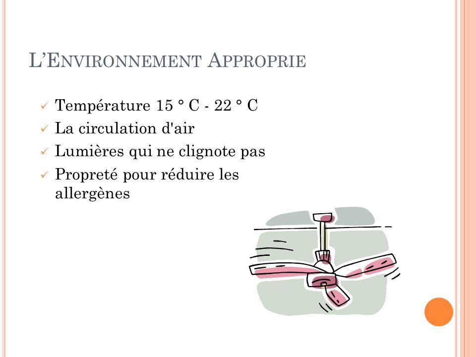 LE NVIRONNEMENT A PPROPRIE Température 15 ° C - 22 ° C La circulation d'air Lumières qui ne clignote pas Propreté pour réduire les allergènes