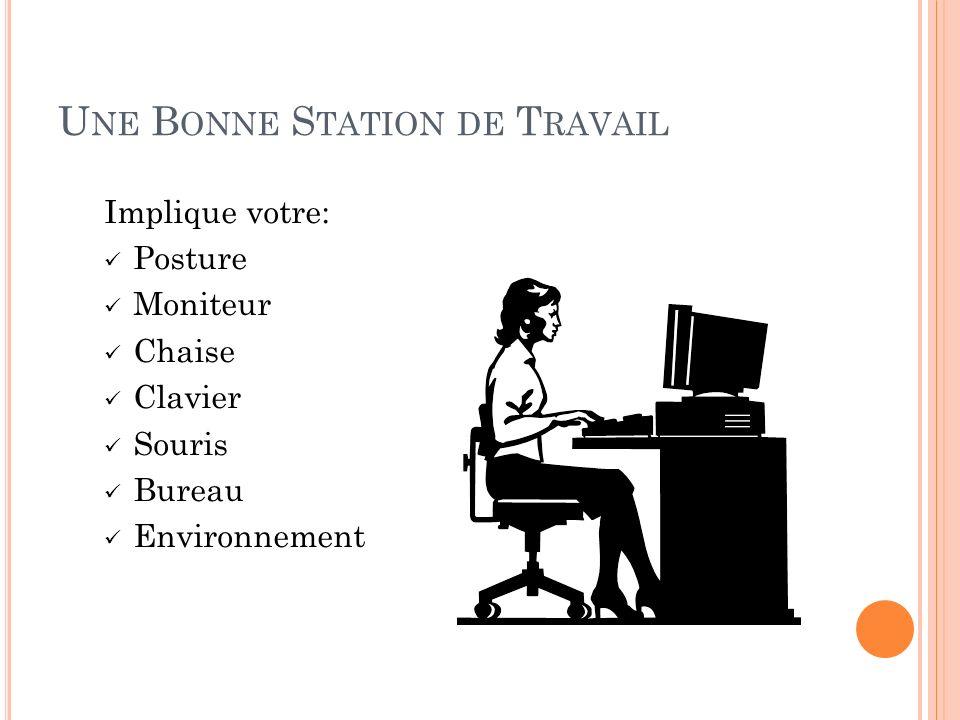 U NE B ONNE S TATION DE T RAVAIL Implique votre: Posture Moniteur Chaise Clavier Souris Bureau Environnement
