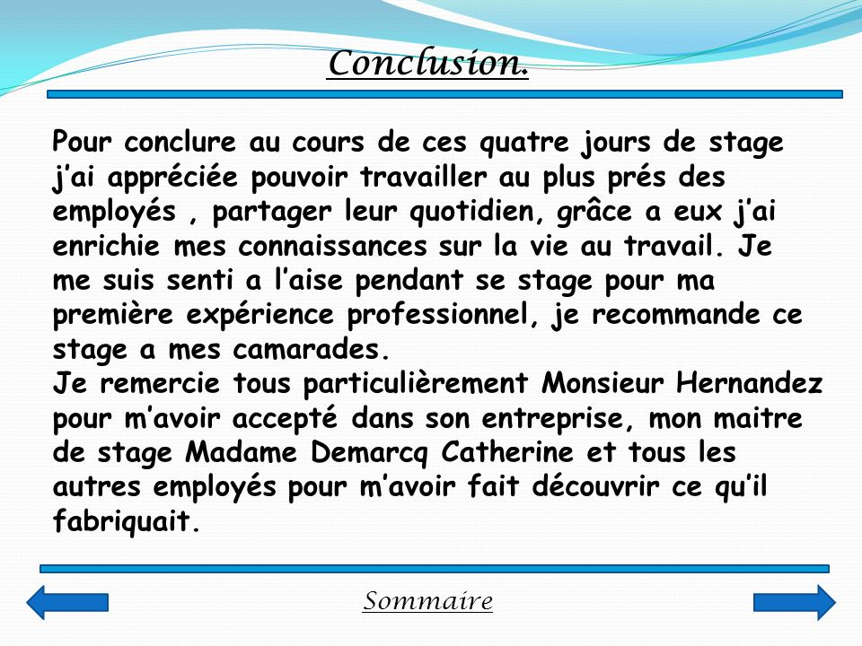Sommaire Conclusion.