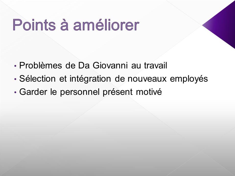 Problèmes de Da Giovanni au travail Sélection et intégration de nouveaux employés Garder le personnel présent motivé