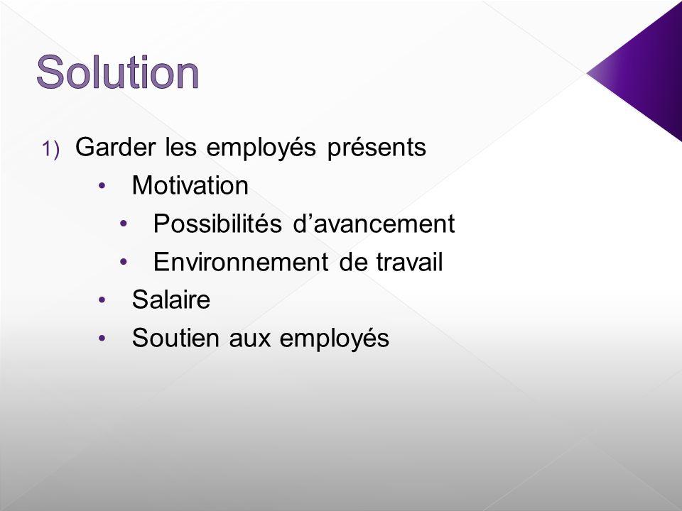 1) Garder les employés présents Motivation Possibilités davancement Environnement de travail Salaire Soutien aux employés