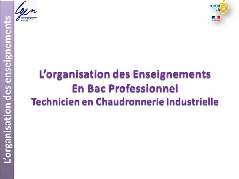 Lorganisation des enseignements Lorganisation des Enseignements En Bac Professionnel Technicien en Chaudronnerie Industrielle
