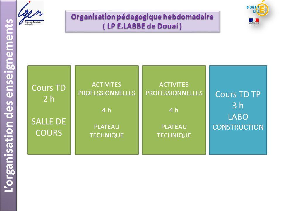 Lorganisation des enseignements Cours TD 2 h SALLE DE COURS ACTIVITES PROFESSIONNELLES 4 h PLATEAU TECHNIQUE ACTIVITES PROFESSIONNELLES 4 h PLATEAU TE