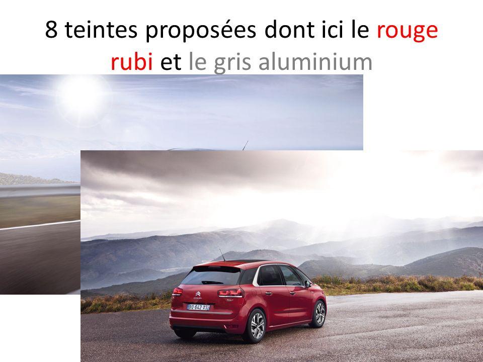 8 teintes proposées dont ici le rouge rubi et le gris aluminium
