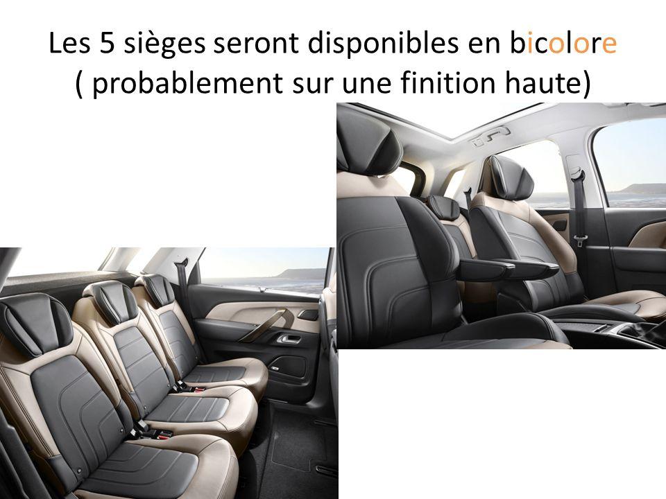 Les 5 sièges seront disponibles en bicolore ( probablement sur une finition haute)