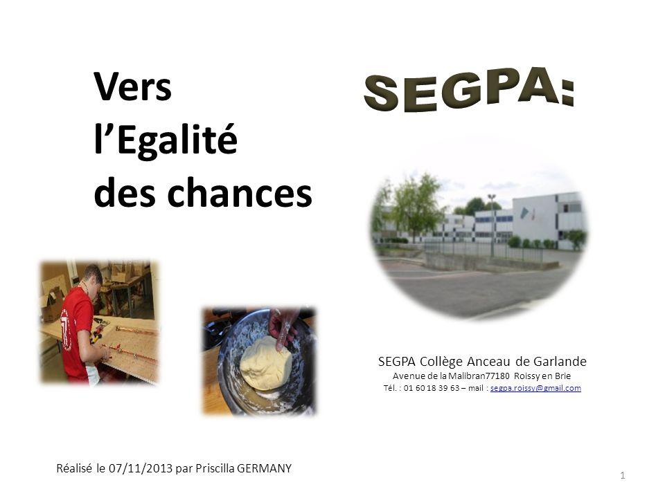 Vers lEgalité des chances Réalisé le 07/11/2013 par Priscilla GERMANY SEGPA Collège Anceau de Garlande Avenue de la Malibran77180 Roissy en Brie Tél.