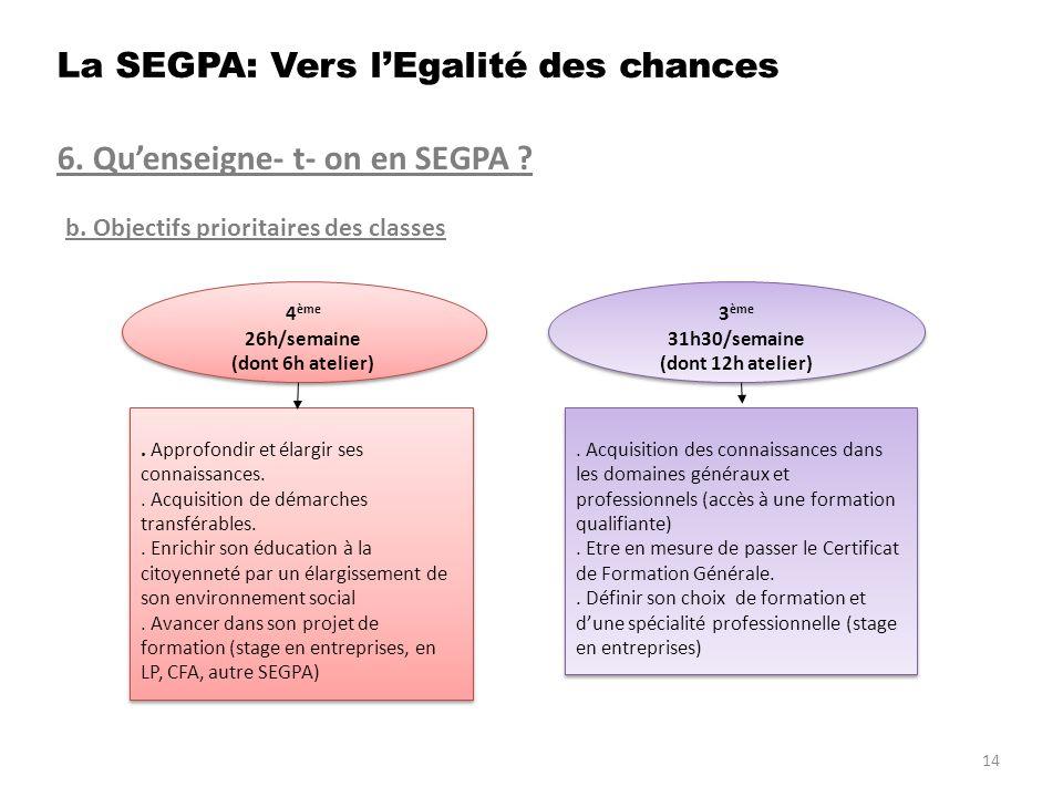 6. Quenseigne- t- on en SEGPA ? b. Objectifs prioritaires des classes. Approfondir et élargir ses connaissances.. Acquisition de démarches transférabl