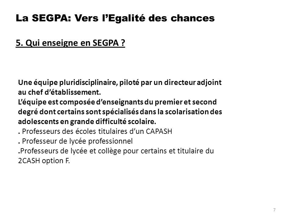 7.Quelles formations après la SEGPA . Lycée professionnel :.