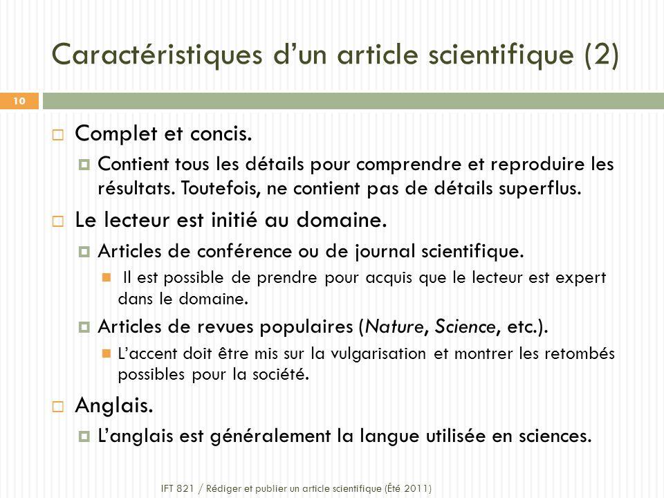 Caractéristiques dun article scientifique (2) Complet et concis.