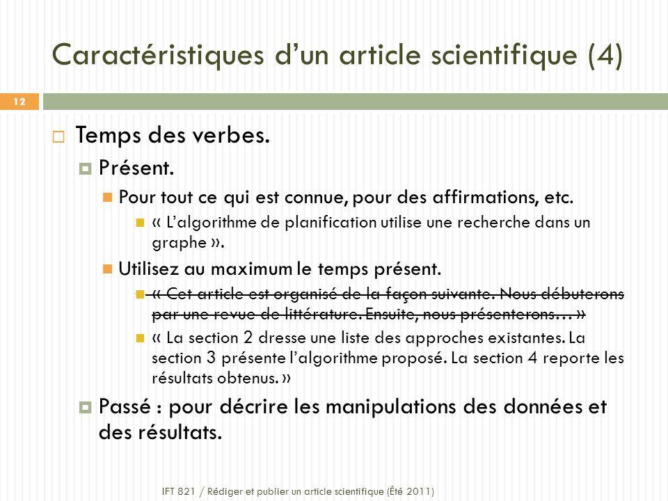 Caractéristiques dun article scientifique (4) Temps des verbes.