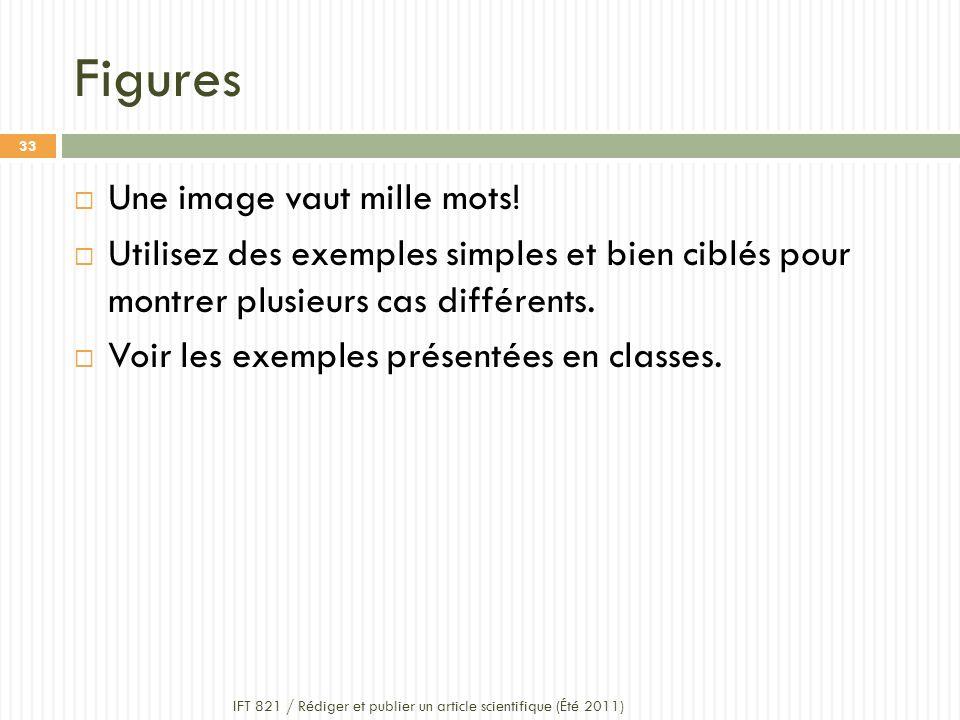 Figures IFT 821 / Rédiger et publier un article scientifique (Été 2011) 33 Une image vaut mille mots.