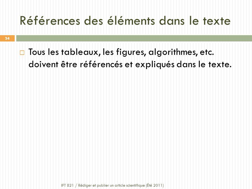 Références des éléments dans le texte IFT 821 / Rédiger et publier un article scientifique (Été 2011) 34 Tous les tableaux, les figures, algorithmes, etc.
