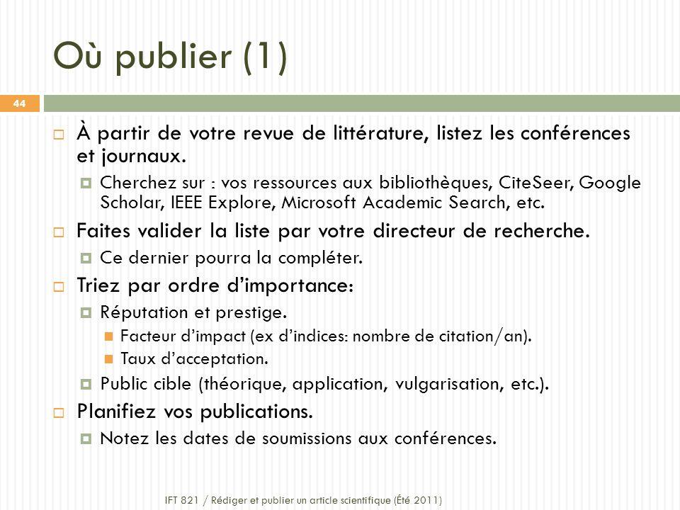 Où publier (1) IFT 821 / Rédiger et publier un article scientifique (Été 2011) 44 À partir de votre revue de littérature, listez les conférences et journaux.