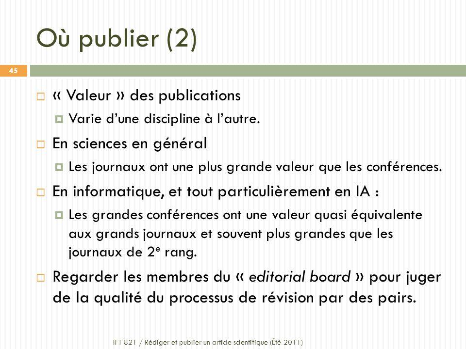 Où publier (2) IFT 821 / Rédiger et publier un article scientifique (Été 2011) 45 « Valeur » des publications Varie dune discipline à lautre.