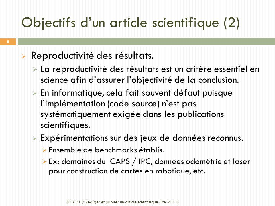 Objectifs dun article scientifique (2) Reproductivité des résultats.