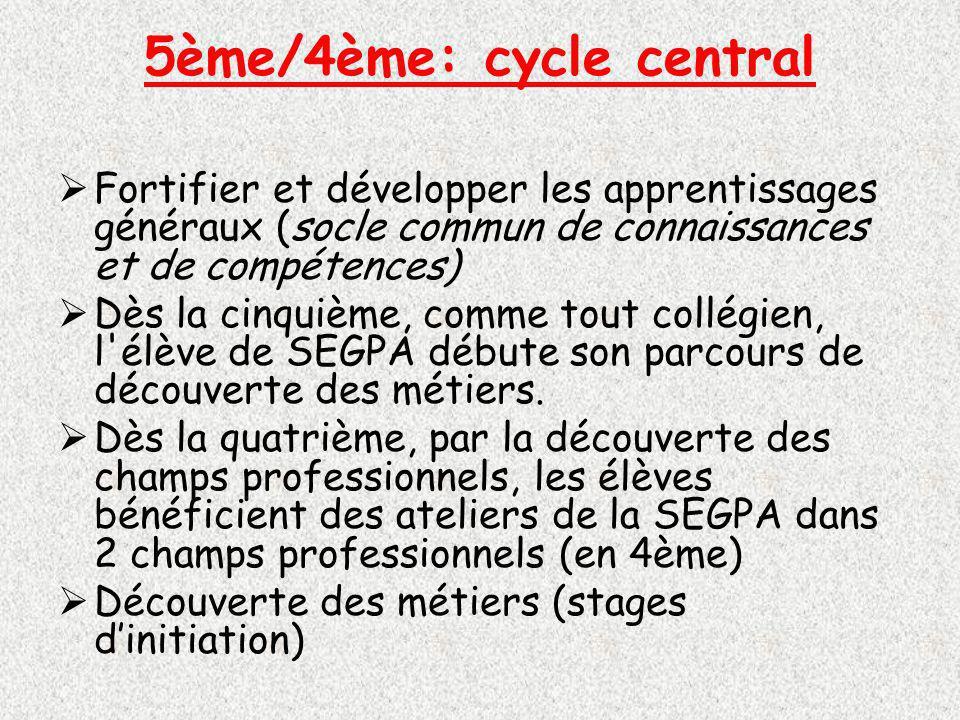 5ème/4ème: cycle central Fortifier et développer les apprentissages généraux (socle commun de connaissances et de compétences) Dès la cinquième, comme tout collégien, l élève de SEGPA débute son parcours de découverte des métiers.