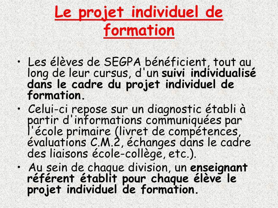 Le projet individuel de formation Les élèves de SEGPA bénéficient, tout au long de leur cursus, d un suivi individualisé dans le cadre du projet individuel de formation.