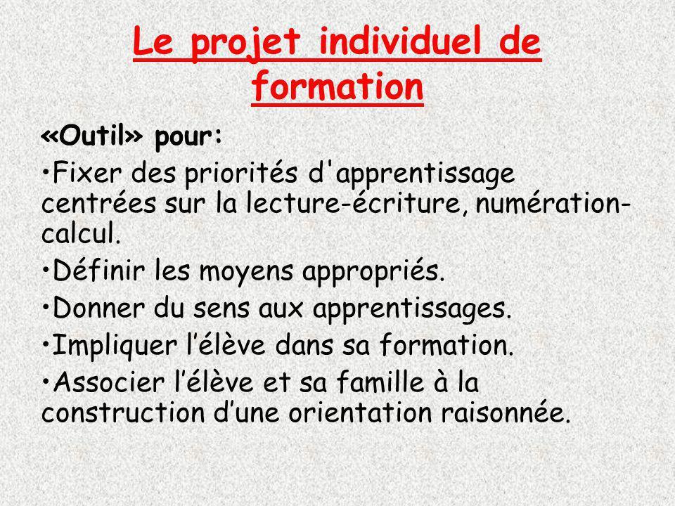 Le projet individuel de formation «Outil» pour: Fixer des priorités d apprentissage centrées sur la lecture-écriture, numération- calcul.