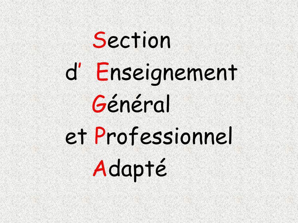 Section d Enseignement Général et Professionnel Adapté