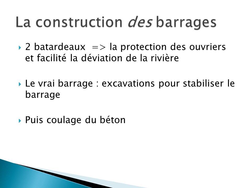 2 batardeaux => la protection des ouvriers et facilité la déviation de la rivière Le vrai barrage : excavations pour stabiliser le barrage Puis coulag