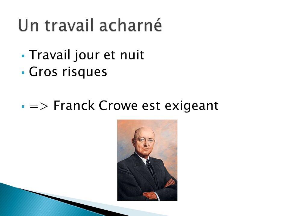 Travail jour et nuit Gros risques => Franck Crowe est exigeant
