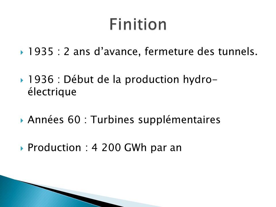 1935 : 2 ans davance, fermeture des tunnels. 1936 : Début de la production hydro- électrique Années 60 : Turbines supplémentaires Production : 4 200 G