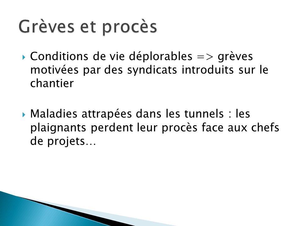 Conditions de vie déplorables => grèves motivées par des syndicats introduits sur le chantier Maladies attrapées dans les tunnels : les plaignants per