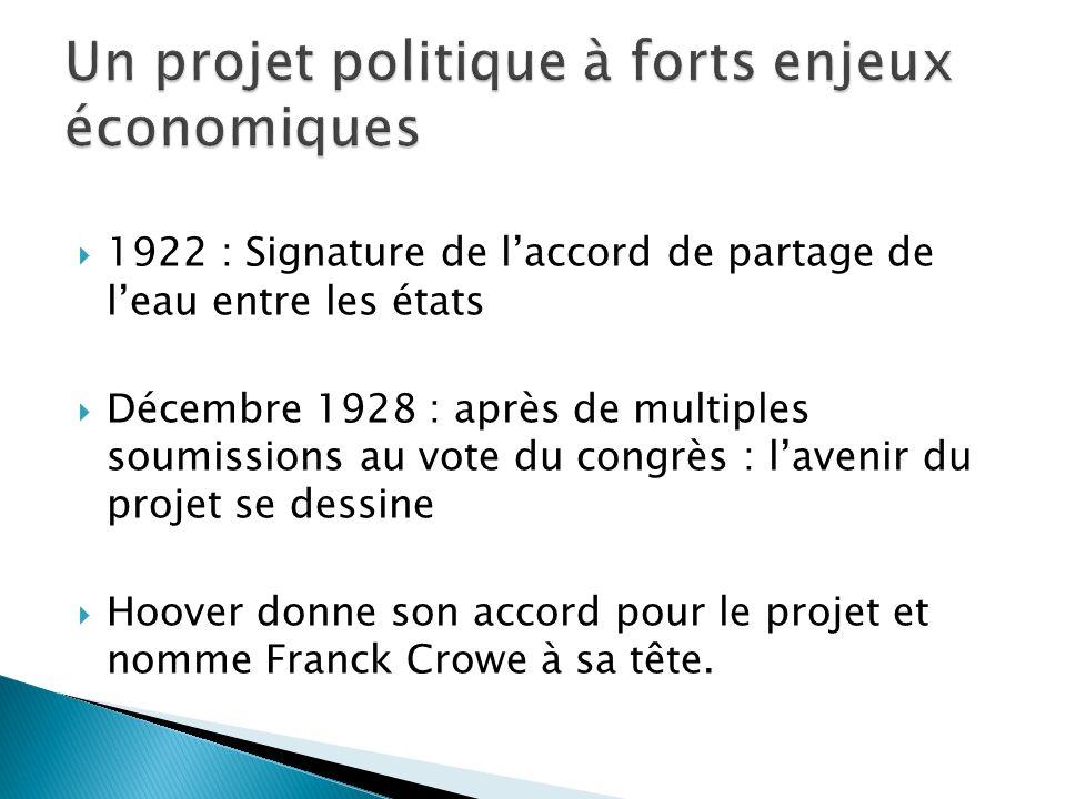 1922 : Signature de laccord de partage de leau entre les états Décembre 1928 : après de multiples soumissions au vote du congrès : lavenir du projet s