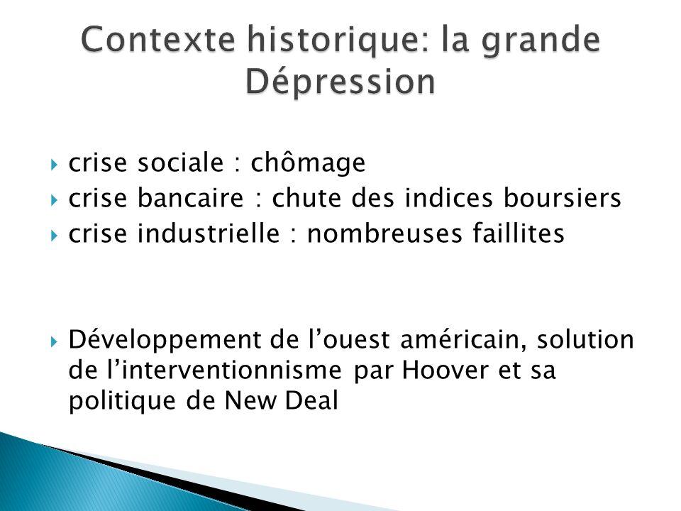 crise sociale : chômage crise bancaire : chute des indices boursiers crise industrielle : nombreuses faillites Développement de louest américain, solu
