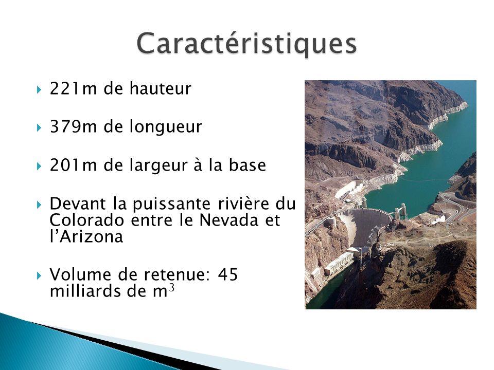 221m de hauteur 379m de longueur 201m de largeur à la base Devant la puissante rivière du Colorado entre le Nevada et lArizona Volume de retenue: 45 m