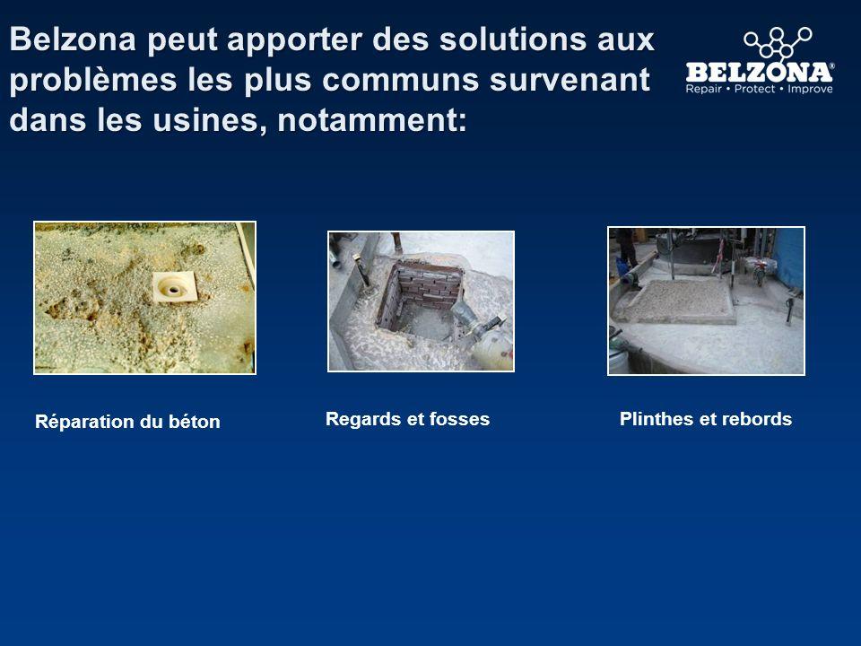 Belzona peut apporter des solutions aux problèmes les plus communs survenant dans les usines, notamment: Réparation du béton Plinthes et rebordsRegard