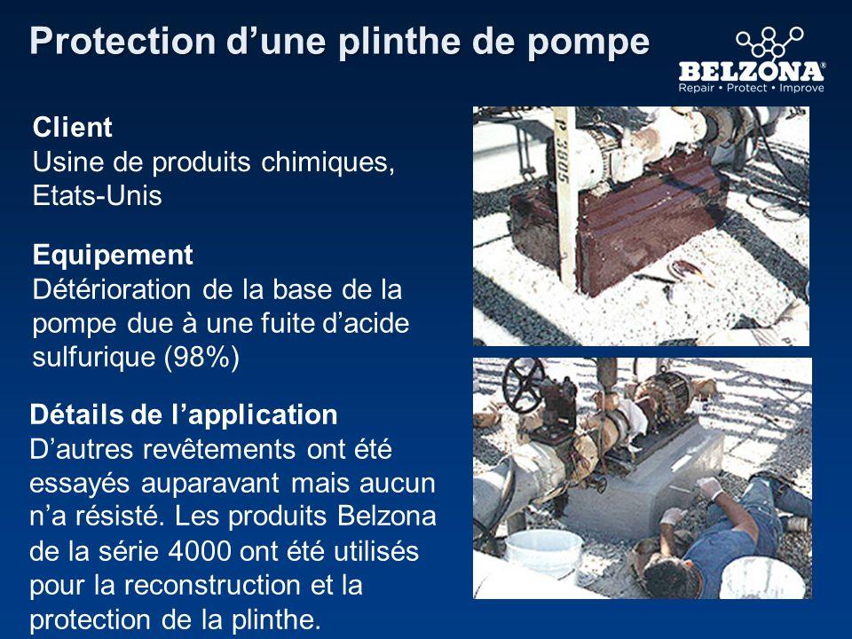 Client Usine de produits chimiques, Etats-Unis Equipement Détérioration de la base de la pompe due à une fuite dacide sulfurique (98%) Détails de lapp