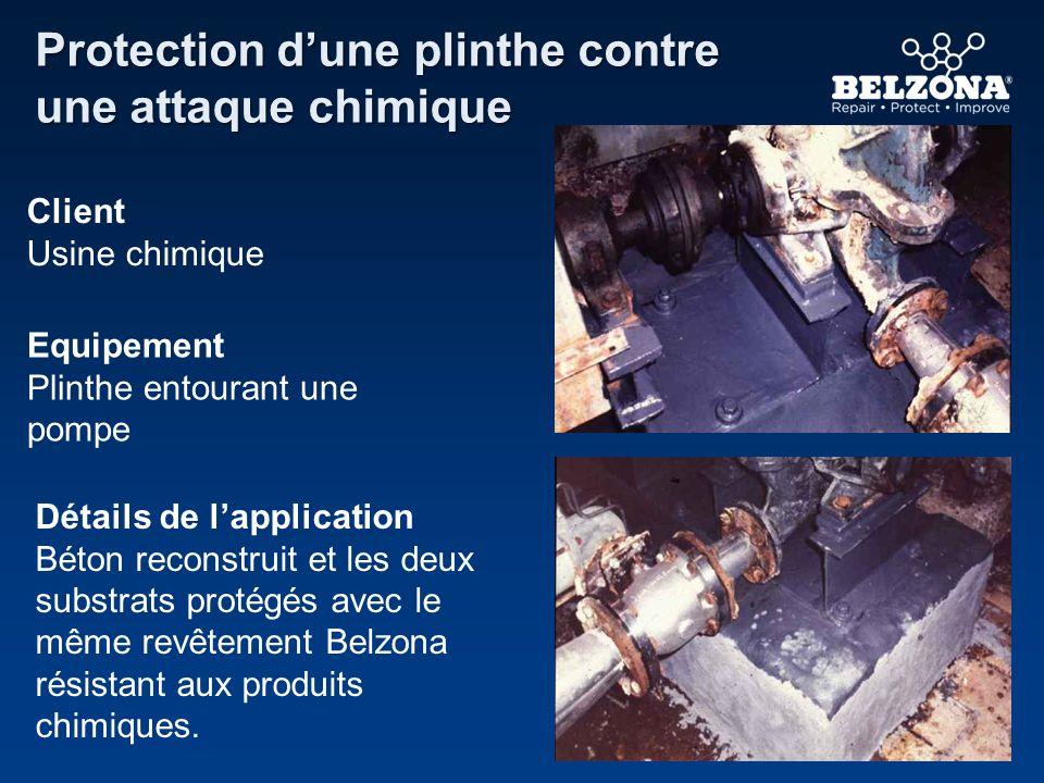 Client Usine chimique Equipement Plinthe entourant une pompe Détails de lapplication Béton reconstruit et les deux substrats protégés avec le même rev