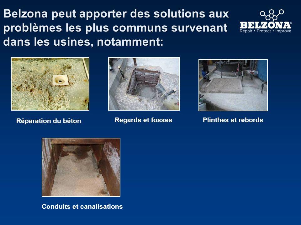 Belzona peut apporter des solutions aux problèmes les plus communs survenant dans les usines, notamment: Conduits et canalisations Réparation du béton