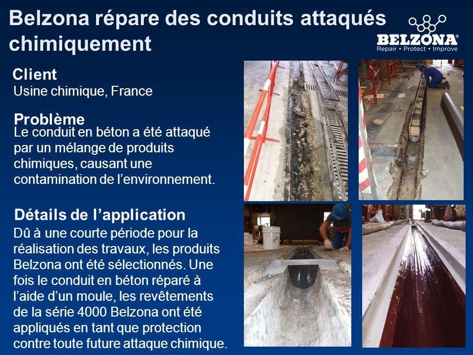 Client Problème Détails de lapplication Belzona répare des conduits attaqués chimiquement Usine chimique, France Le conduit en béton a été attaqué par