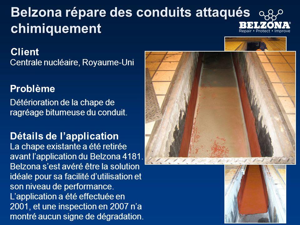 Client Problème Détails de lapplication Belzona répare des conduits attaqués chimiquement Centrale nucléaire, Royaume-Uni Détérioration de la chape de