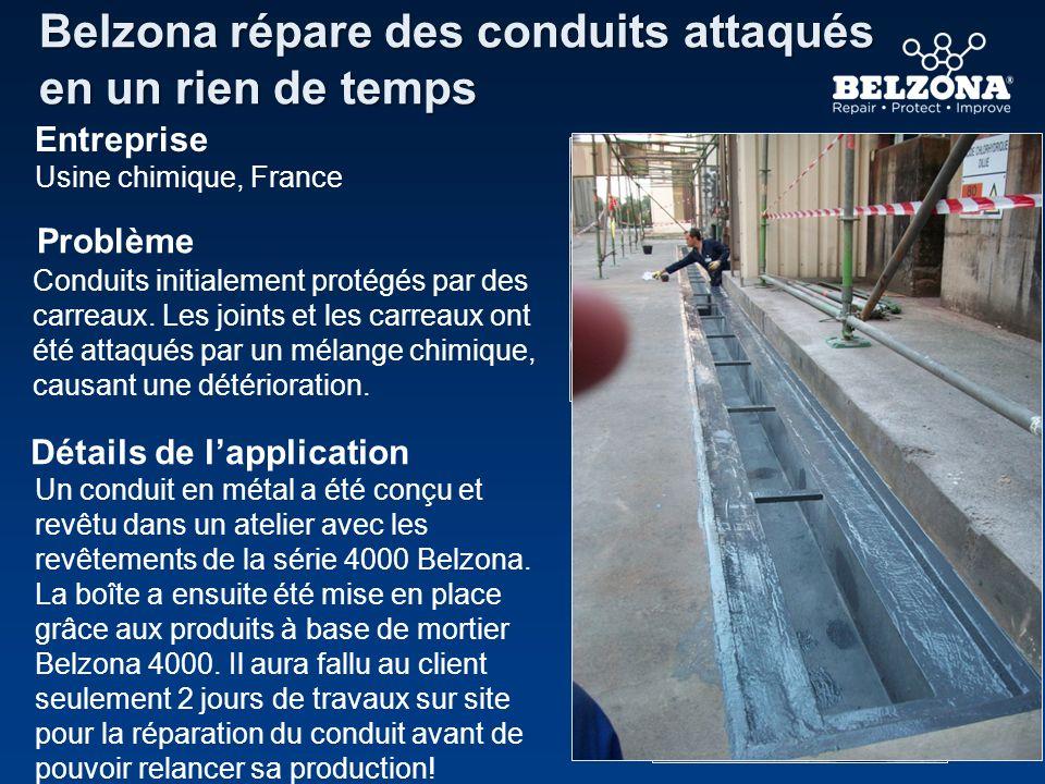 Entreprise Problème Détails de lapplication Belzona répare des conduits attaqués en un rien de temps Usine chimique, France Conduits initialement prot